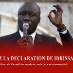 SUIVEZ LA DECLARATION DE IDRISSA SECK